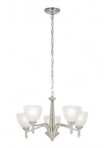 5 Light Ceiling Fitting In Satin Nickel With Alabaster Glass Shades NEESON-5SN